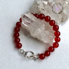 Carnelian Healing Bracelet With Silver Toggle Clasp